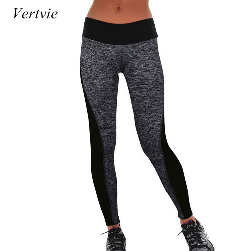 Vertvie Women Running Pants Tights High Waist Stretched Breathable Sport Gym Fitness Tights Elastic Yoga Pants Female Leggings