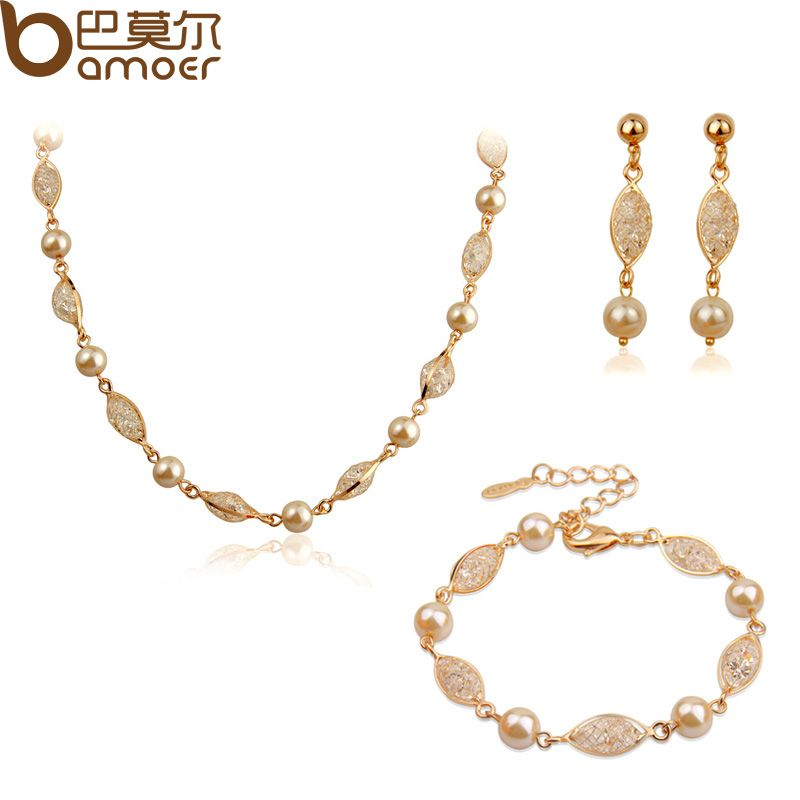Bamoer Luxury Pearl Wedding Jewelry Sets For Women Rose Gold Color Zircon Crystal Necklace + Bracelet + Earrings Jewelry