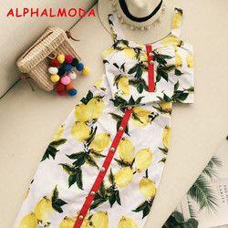 ALPHALMODA Летняя женская модная юбка комплект с принтом ананаса майка с высокой талией шаг юбка Женский праздничный костюм с юбкой