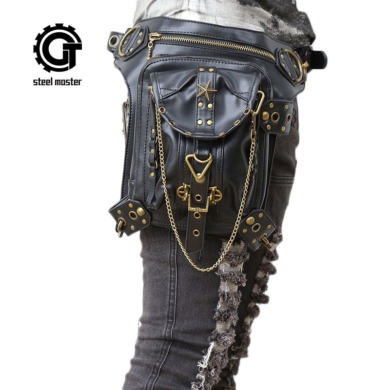 Femmes Steampunk Sacs Gothique Messenger Sac À Main Épaule Sac Vintage Mode Rétro Rock Taille Pack Petit Jambe Sac 2017