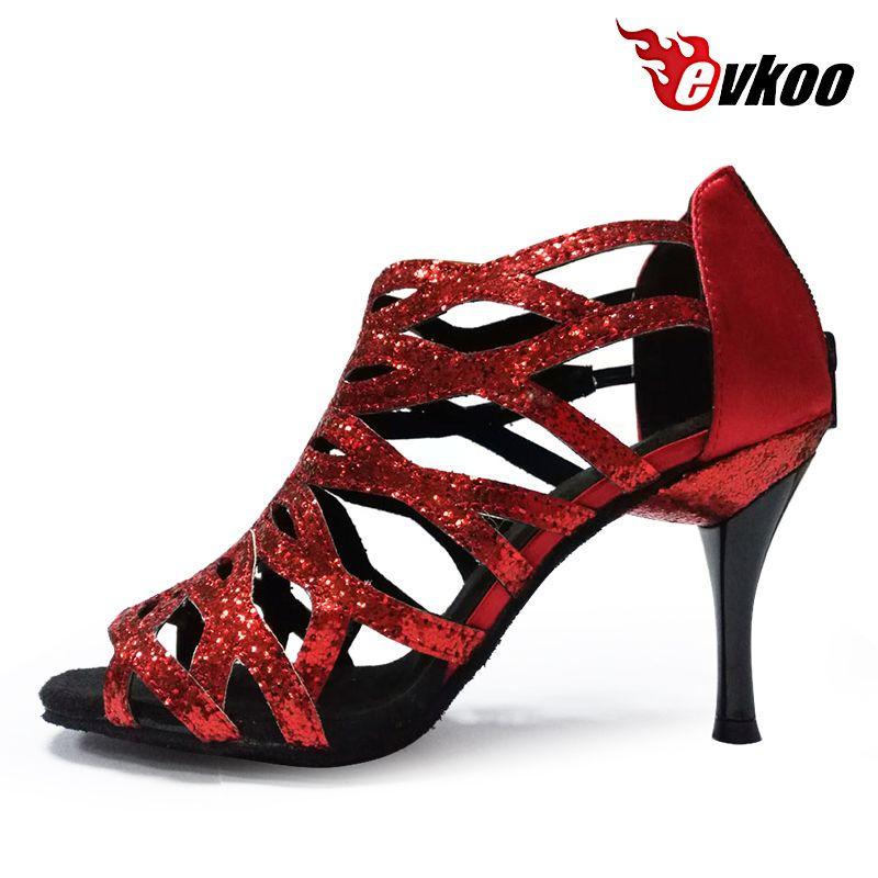 Evkoodance chaud nouveau Design professionnel en cuir semelle Salsa salle de bal 8.5 cm talon chaussures de danse latine pour les femmes 5 couleurs Evkoo-381