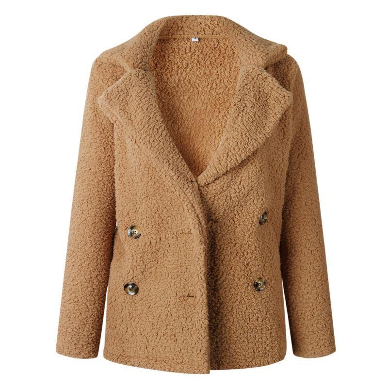 Plus la Taille Femmes Automne Hiver Manteau Revers Poche Bouton Manches Longues Chaud Solide Couleur De Laine Outwear Veste 2018 Date Arrivée