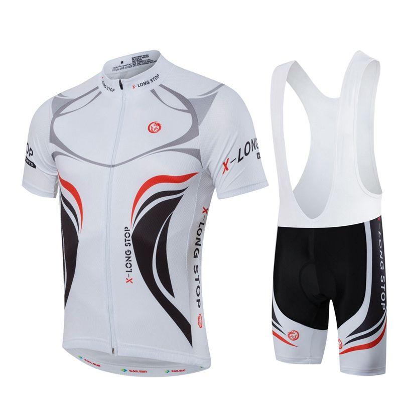 HOT hommes vtt vêtements de cyclisme été vélo Jersey cuissard à bretelle blanc mâle Sports de plein air Pro équipe ropa vélo haut Maillot Ciclismo