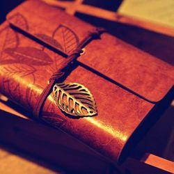 Vintage Faux Cuir Chaîne De Feuille Bound Blank Kraft Papier Journal Journal Portable