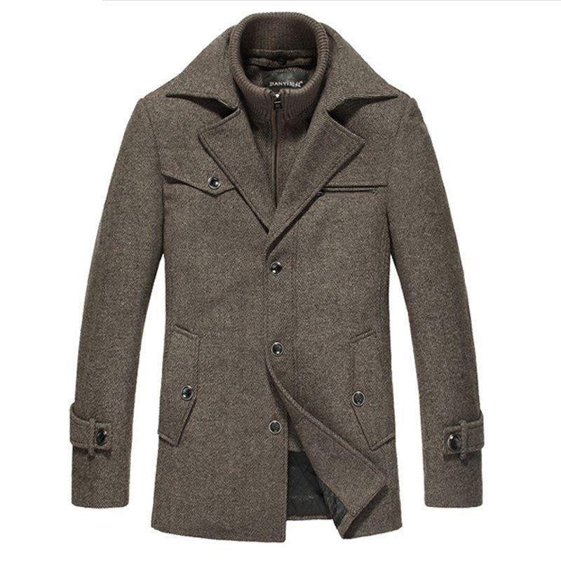 Winter Wool Coat Men Slim Fit Jacket Mens Fashion Outerwear Warm Male Casual Jackets Overcoat Woolen Pea Coat Plus Size XXXXL