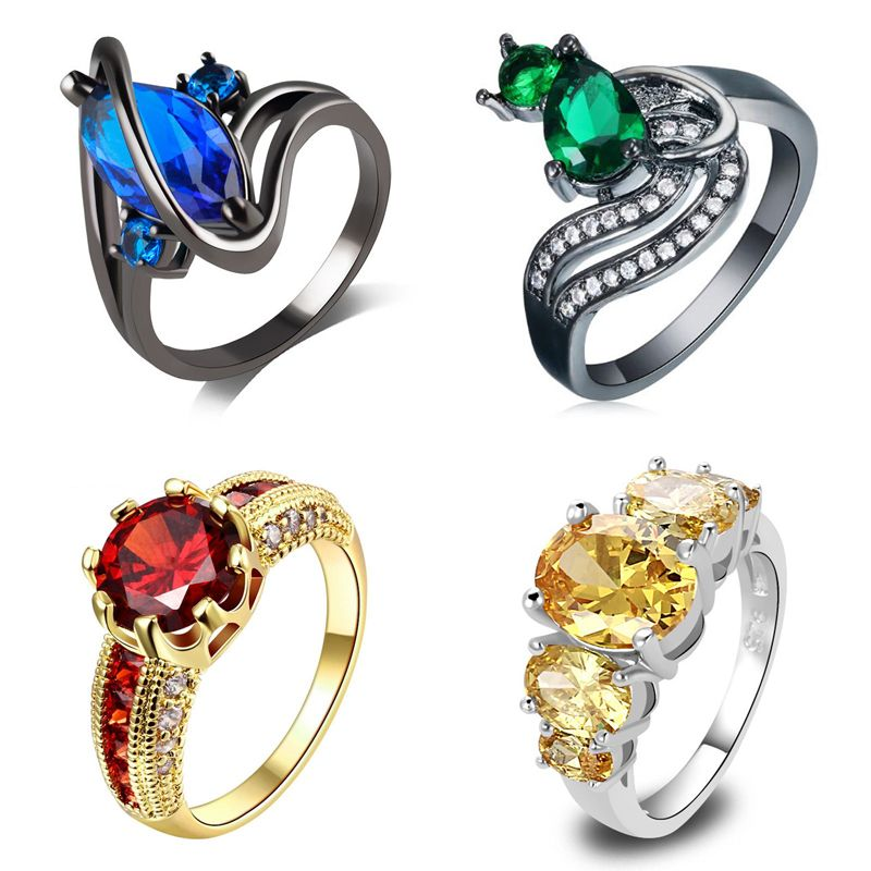 Fashion trendy plated women wedding rings metagems Brass jewelry stone cocktail rings christmas gifts for girls drop shipping