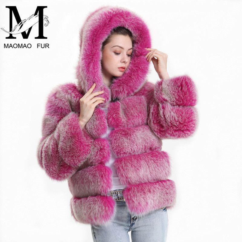 Echt Fuchs Pelz Mantel Frauen Winter 2018 Mode Natürliche Fuchs Pelz Jacke mit Kapuze Outfit Pullover Echte echtem Fell Kapuze mantel Weibliche