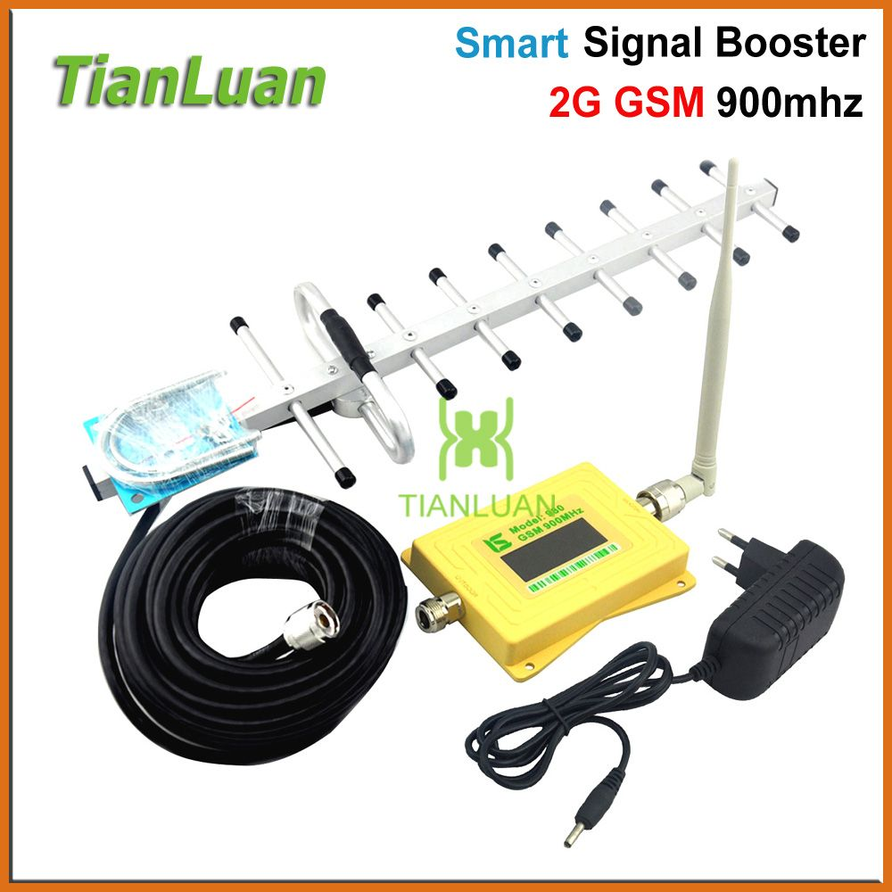 mini Smart GSM 900mhz Signal Booster 2G Mobile phone Signal Repeater GSM980 Amplifier with Whip Antenna / Yagi Antenna Yellow