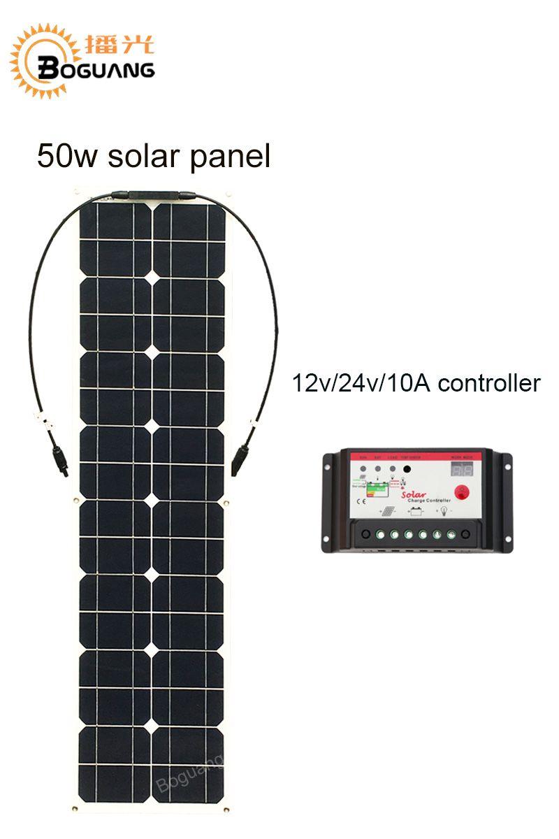 Boguang 50 watt solar panel mit 12 v 10A controller MC4 stecker modul Monokristalline silizium zelle solar panels batterie DIY kit