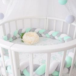 Minimalism Baby Bed Bumper Knot Design Newborn Crib Pad Protection Cot Bumpers Bedding Accessories for Infant Room Decor 1.5M/2M