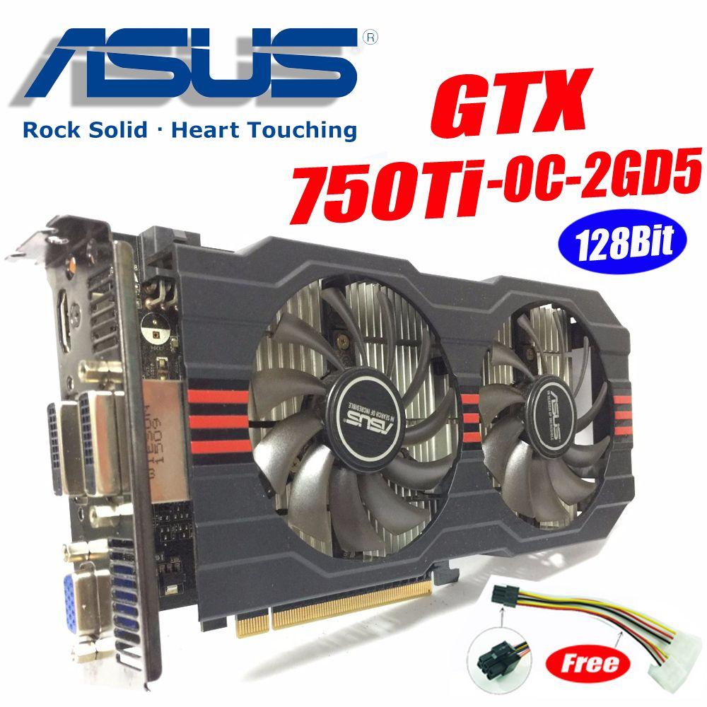 Asus GTX-750TI-OC-2GD5 GTX750 GTX750TI GTX 750TI 2G DDR5 128Bit PC Desktop Graphics video Cards PCI Express3.0 GTX 750 ti
