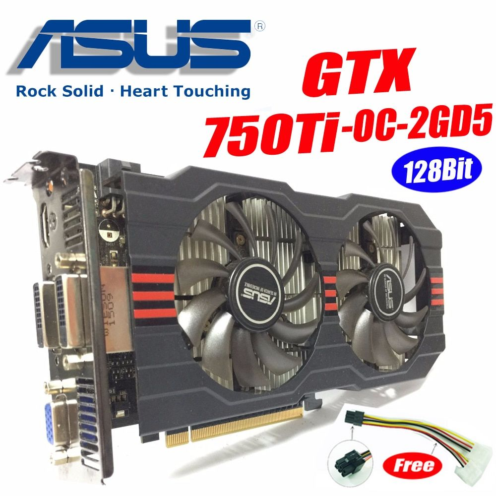 Asus GTX-750TI-OC-2GD5 GTX750 GTX750TI GTX 750TI 2G DDR5 128Bit PC Desktop Graphics video Cards PCI Express3.0 GTX 750 ti