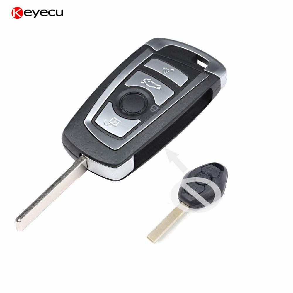 Keyecu EWS Modified Flip Remote Key 4 Button 315/433MHZ With 7935AA ID44 Chip for BMW Z3 Z4 X3 X5 3 5 7 8 Series HU92 Blade