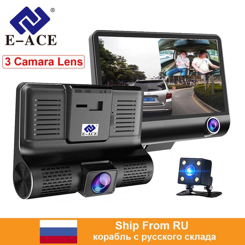 E-ACE voiture Dvr 3 lentille de caméra 4.0 pouces enregistreur vidéo Dash Cam Auto enregistreur double lentille avec caméra de vue arrière DVRS caméscope