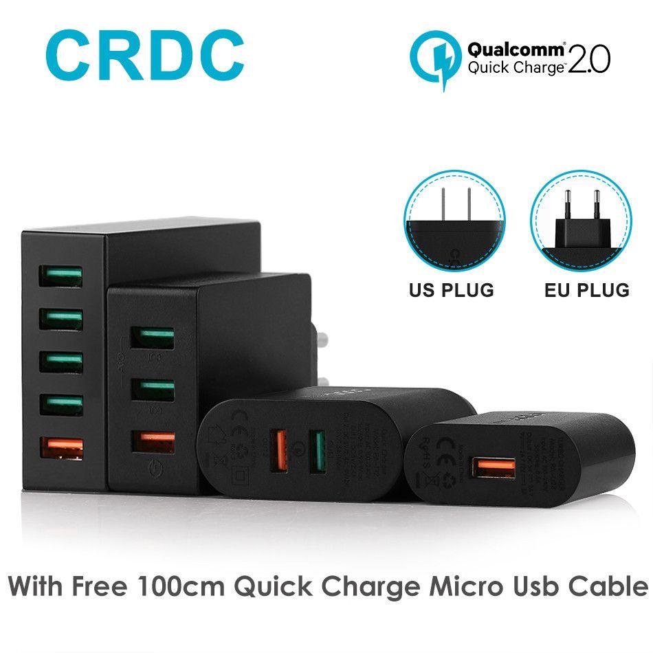 CRDC USB chargeur universel rapide Charge 2.0 chargeur de téléphone portable pour iPhone 7 Plus Samsung Galaxy S8 Elephone batterie externe et Plus