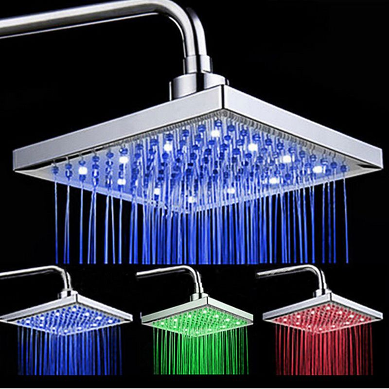 Uythner Newly Arrival LED Color <font><b>Changing</b></font> Rainfall 8 inch Shower Head Rectangular Waterfall Shower Head Chrome Finish