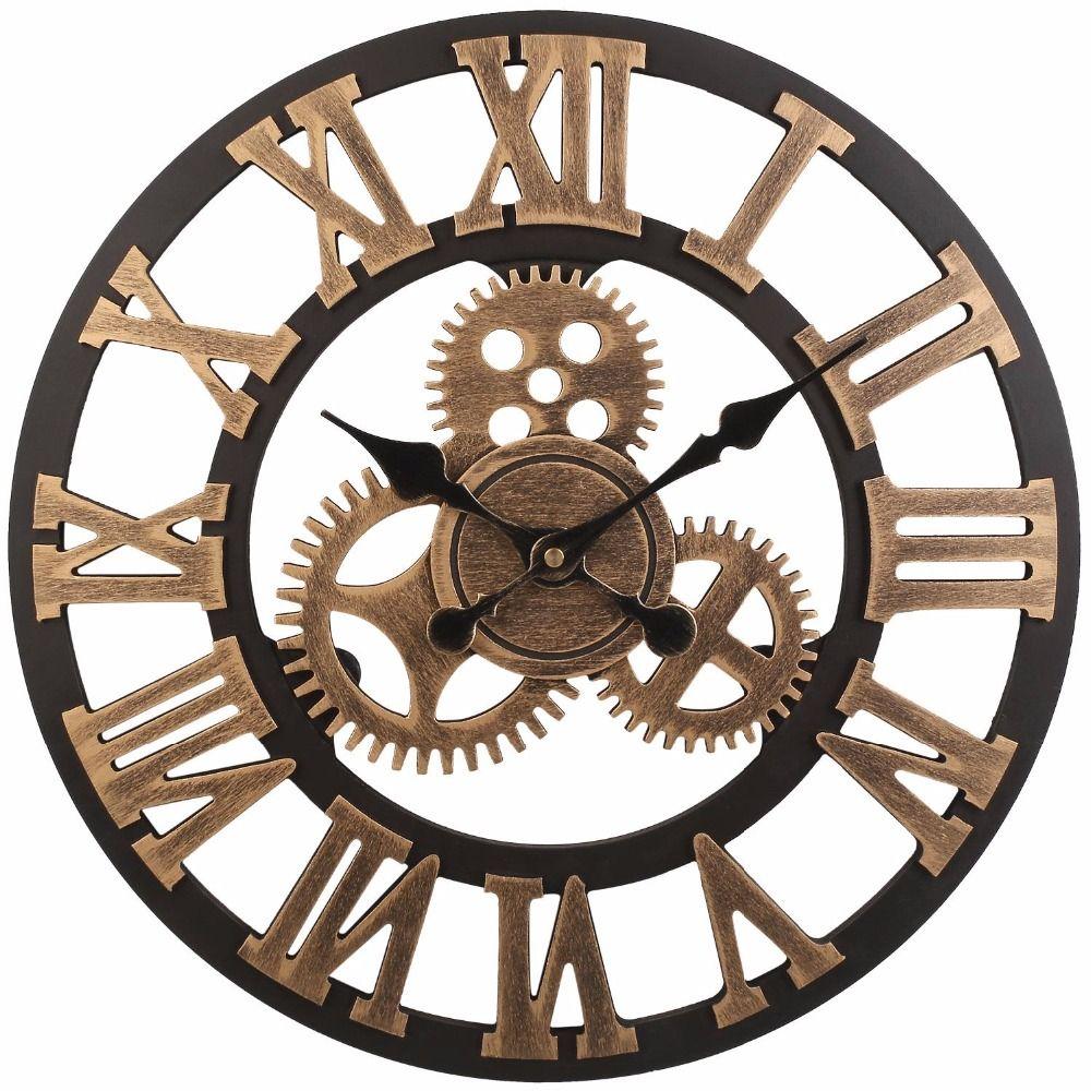 Soledi Vintage Clock European Retro Vintage Handmade 3D Decorative Gear Wooden Vintage Wall Clock (Copper Color)