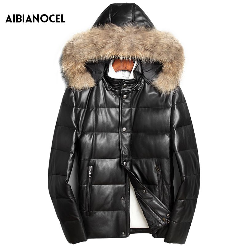 Winter Real Leather Down Jacket Hooded Male Leather Jacket Sheep Leather Raccoon Fur Collar Coat Warm Men's Leather Fur Coat