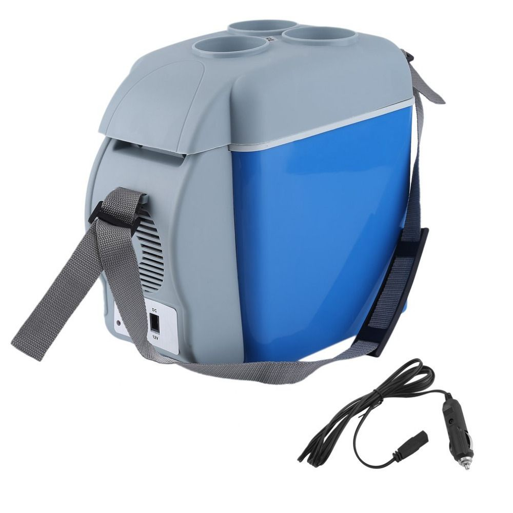 7.5 L Portable Mini Large Capacity Car Cooler&Warmer Heating Cooling 12V Electric Fridge Travel Refrigerator Box With Strap
