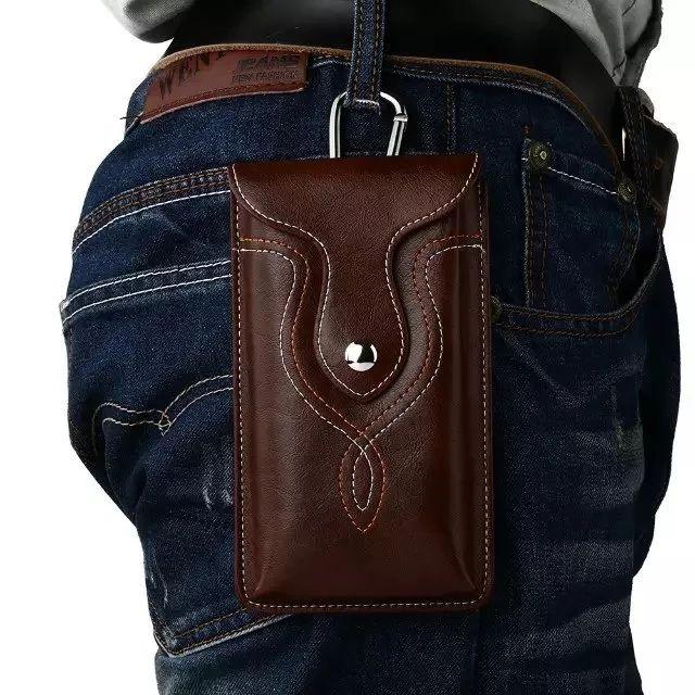 Universel en cuir taille ceinture Clip crochet boucle étui housse sac étui pour Multi Smart Phone Smartphone modèle entre 5.1-5.9 pouces