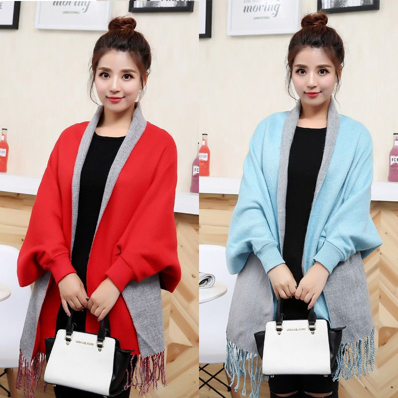 Autumn women's poncho femme hiver Plaid Loose Tassel Knitted Long ponchos and capes shawls women ponchos y capas mujer Cardigan