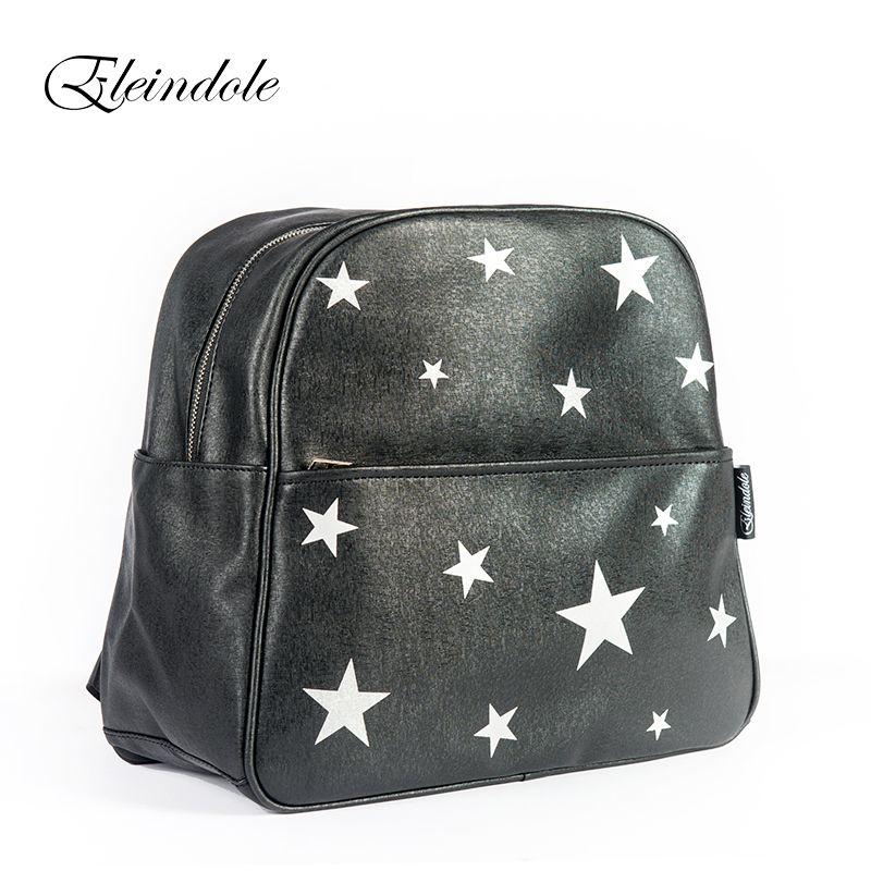 Eleindole 2017 Unisex Backpacks Stars Bag Waterproof Bag Side Buckles Black/Silver Hanging on Stroller Protable Mother Backpacks