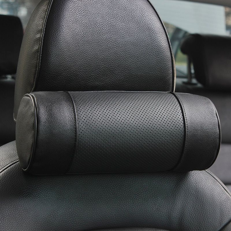 Genuine Leather Car Seat Headrest Pillows Auto Safety Cylindrical Black Neck Support Cover Cushion Memory Bone Head Protector