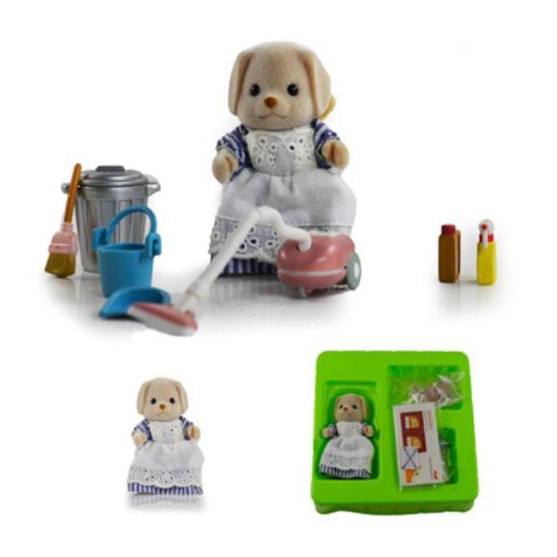 Original Sylvanian Familias perro lun con su clean tool Set Nuevo Loose
