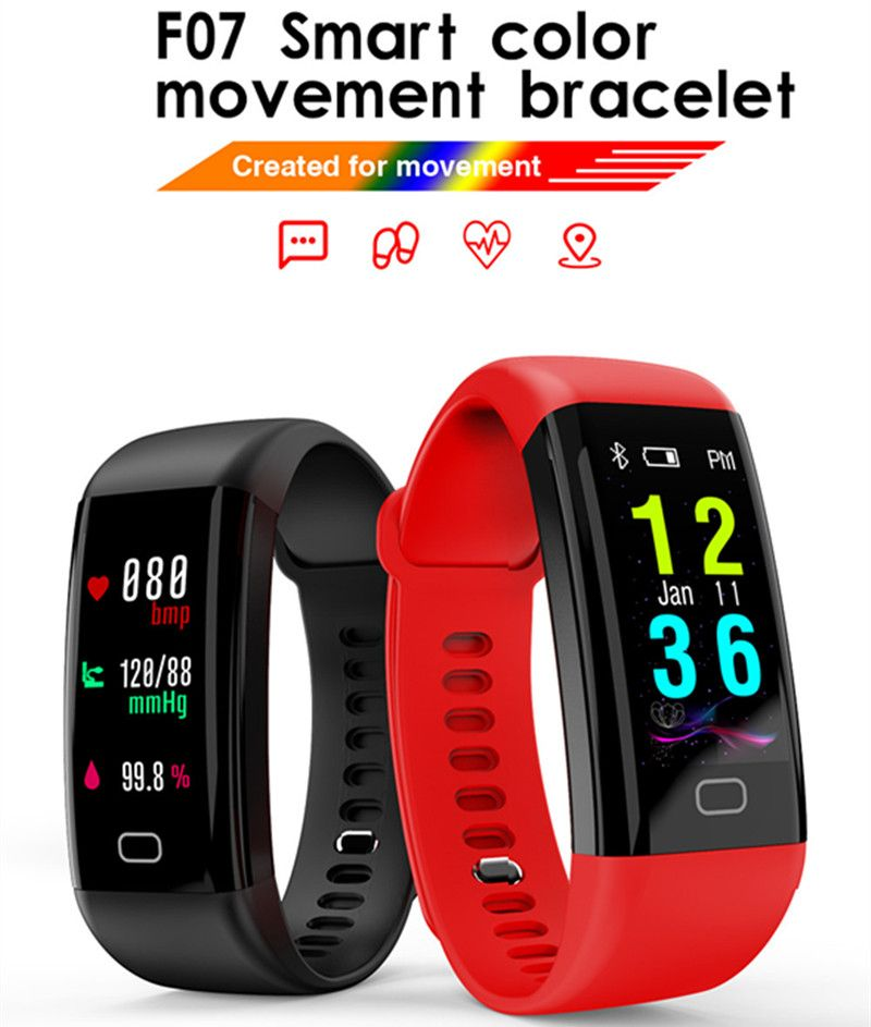 F07 OLED Color screen Wristband Bluetooth Smart Band Bracelet IP68 Waterproof Heart Rate monitor Smartband for Android IOS