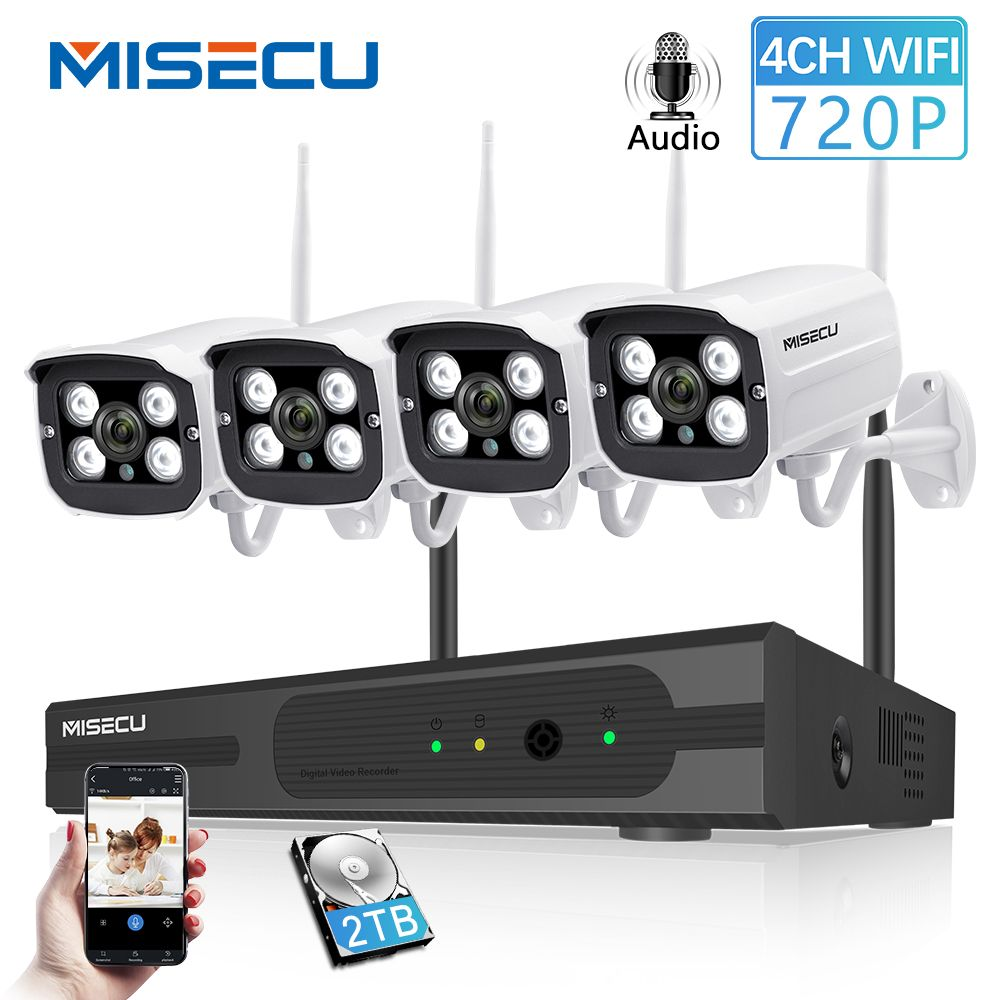 MISECU 4CH NVR Wireless CCTV System 720P HD WIFI IP Camera Audio Record Outdoor Waterproof Night Vision P2P Security Home Kit