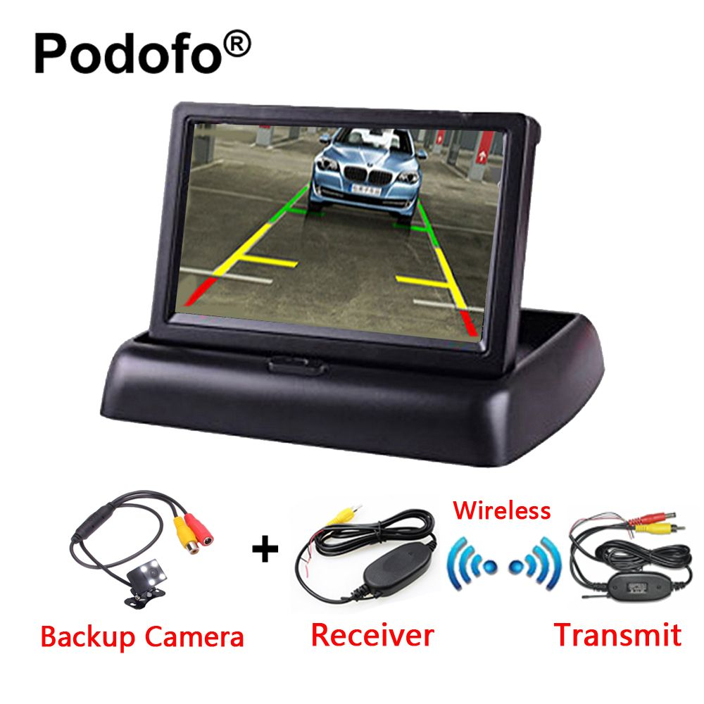 Podofo 3 in 1 Wireless Rear View Camera HD 4.3 Foldable Car Monitor with IR Night Vision Parking Reversing Camera Car-Styling