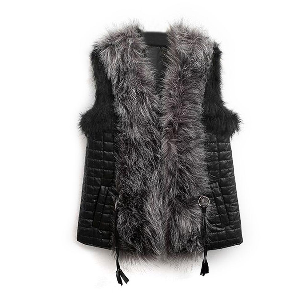 Women Vest Overcoat Winter Waistcoat Leather Fur Coat Tops Punk Pocket Sleeveless Outerwear Faux Fur Female Vest Plus Size
