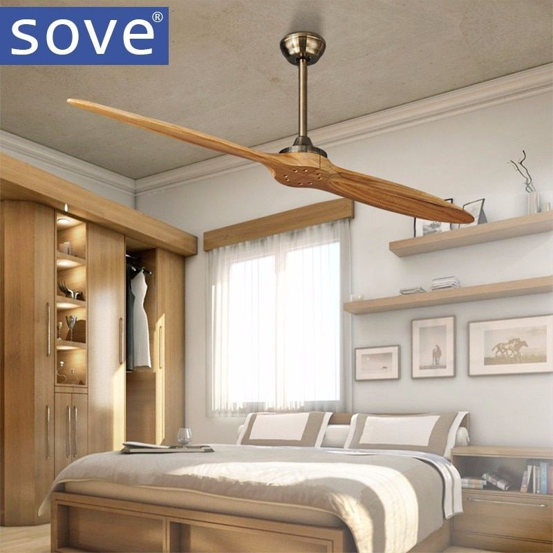 SOVE Village Bronze Wooden Dc Ceiling Fan Remote Control Wood Decorative Ceiling Fans Without Light Fan 220V Ventilador De Techo