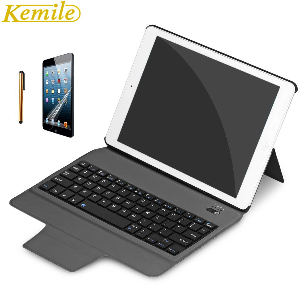 kemile Ultra Slim Bluetooth Keyboard For New iPad 2017 9.7 with Stand Leather Case Cover For iPad Pro 9.7 tablet Keypad klavye