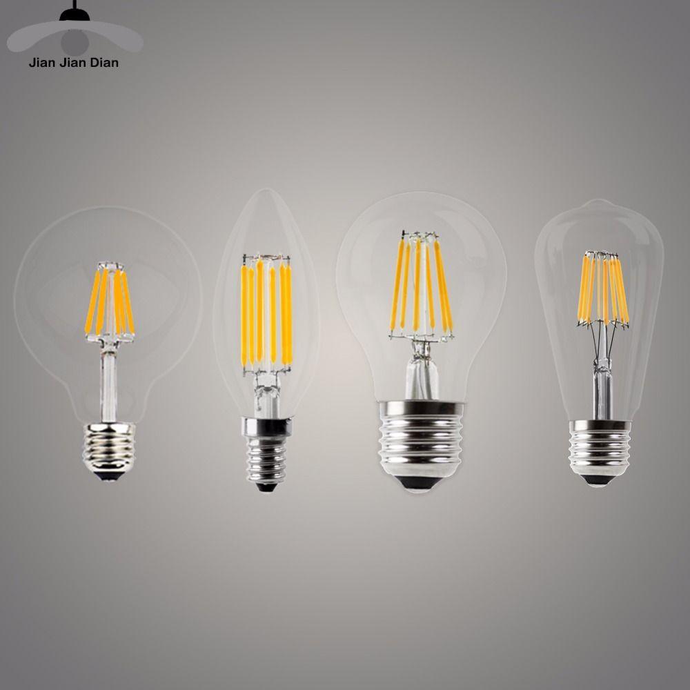 LED Candle Bulb E14 Vintage C35 Filament Light Bulb E27 LED Edison Globe Lamp 220V A60 Glass 2W 4W 6W 8W Replace Incandescent