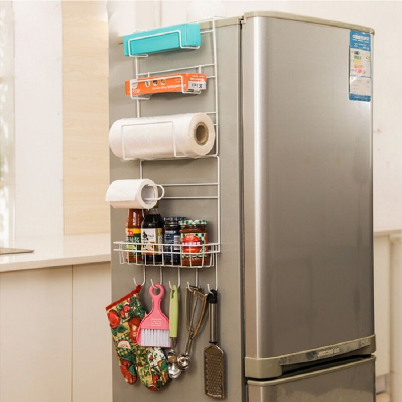 Rack de almacenamiento de accesorios de Cocina Cocina Estante Prateleira organizador Multi-capa Estante Del Refrigerador Nevera lado Bastidores Pared Lateral