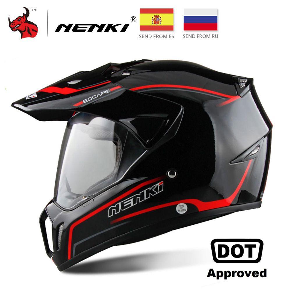 NENKI Noir Moto Casque de Moto Casque Intégral Motocross Hommes Aventure Descente DH Racing Casco Moto Casque DOT