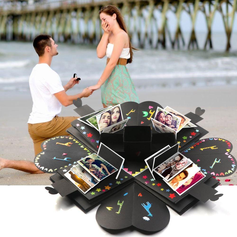 OurWarm bricolage Surprise amour Explosion boîte Album Photo pour saint valentin mariage boîte anniversaire Suprise cadeau 15x15x15 cm