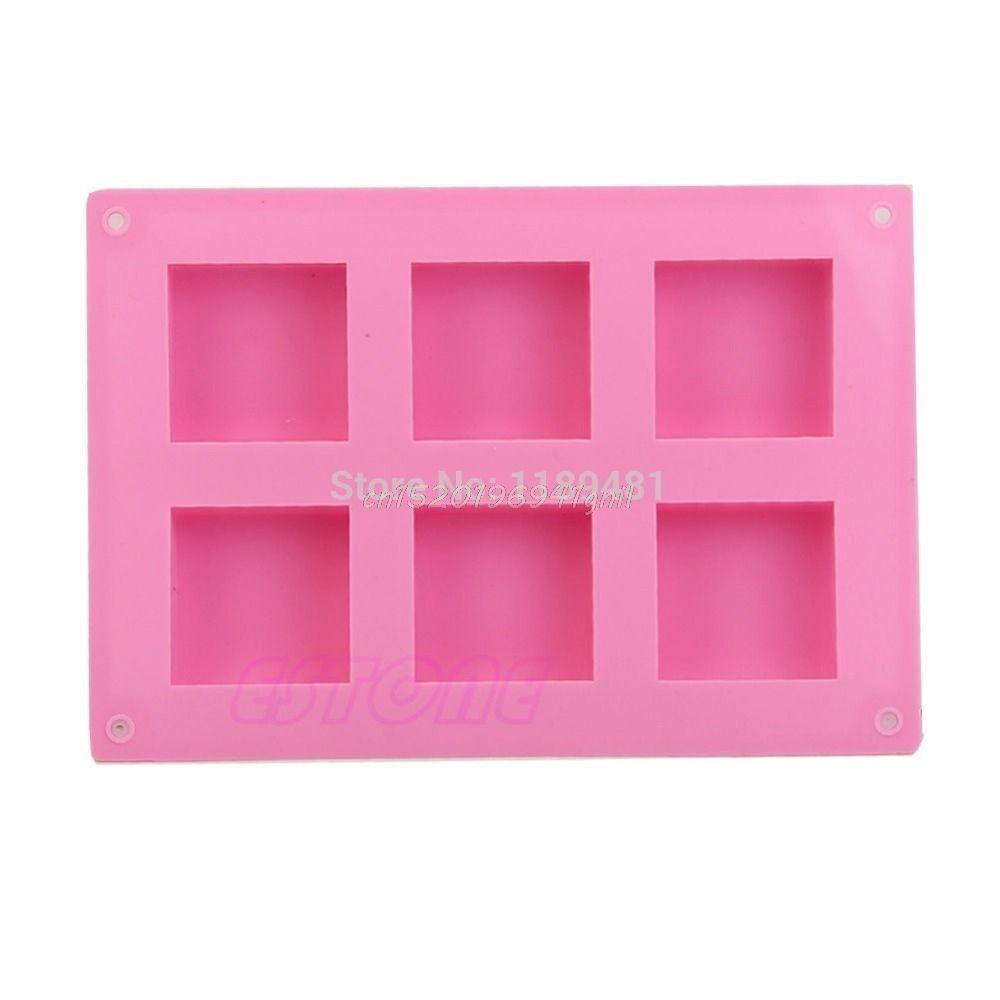 Шесть квадратных силиконовые формы мыло ручной работы плесень # T025 #