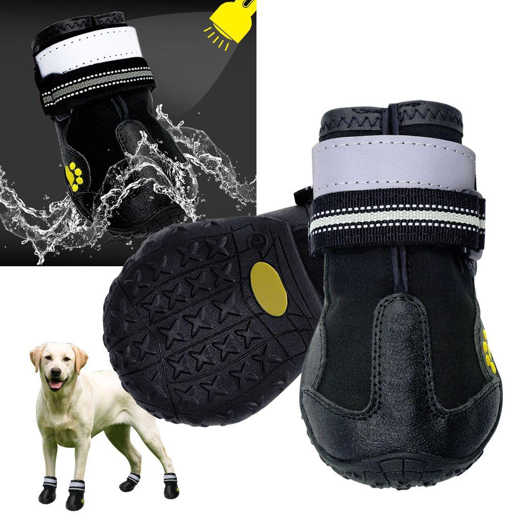 Reflective Dog Shoes Socks Winter Dog Boots Footwear Rain Wear Non-Slip Anti Skid Pet Shoes for Medium Large Dogs Pitbull
