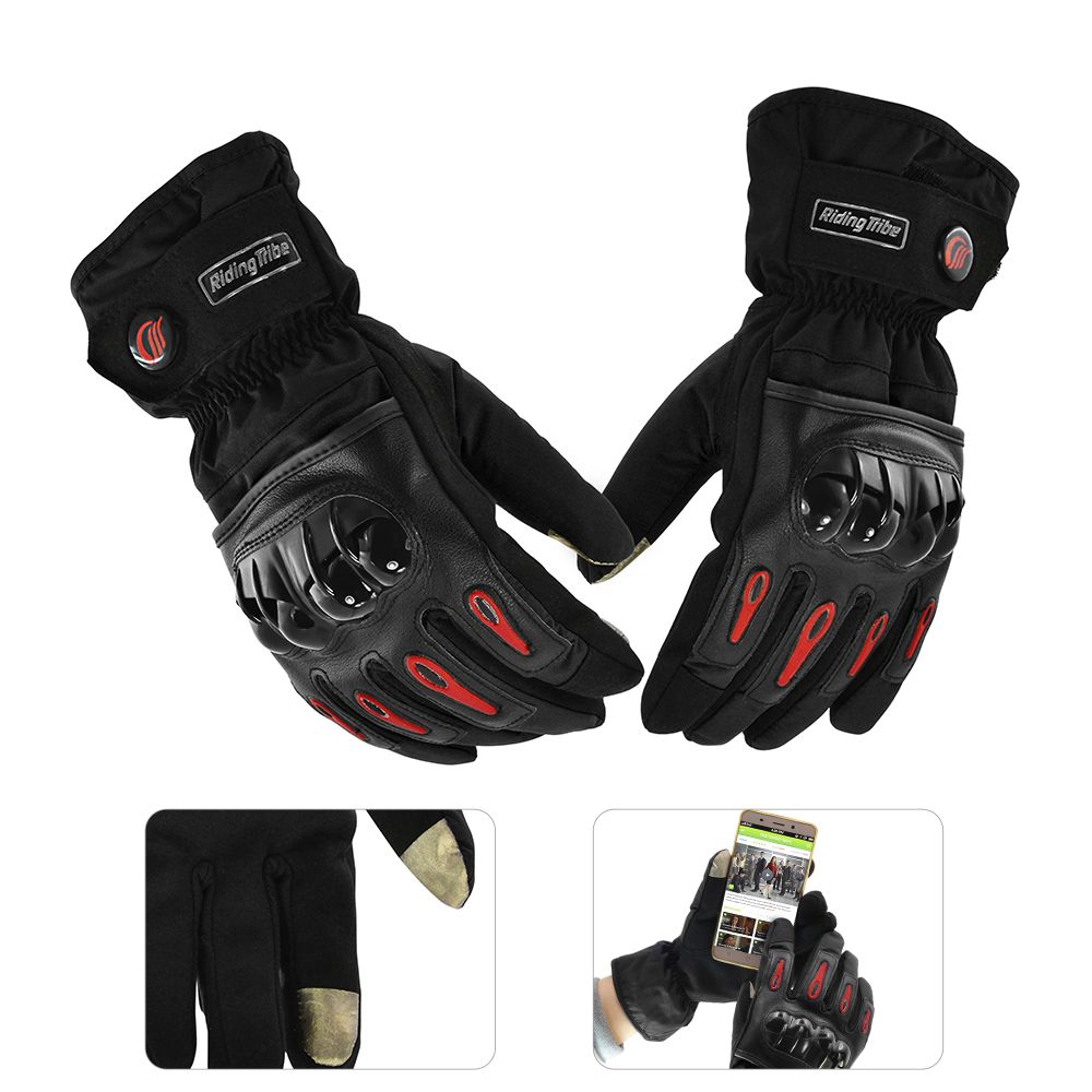 Touch Screen Motorcycle Gloves Racing Leather Full Finger Bicycle Cold Luvas Waterproof Windproof Winter Motor Guantes Glove