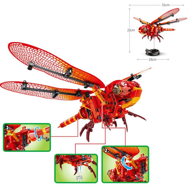 330Pcs Simulated Insect BEE DIY Red Dragonfly Building Blocks Compatible Legoingly Creator Bricks Kids Toys for Children