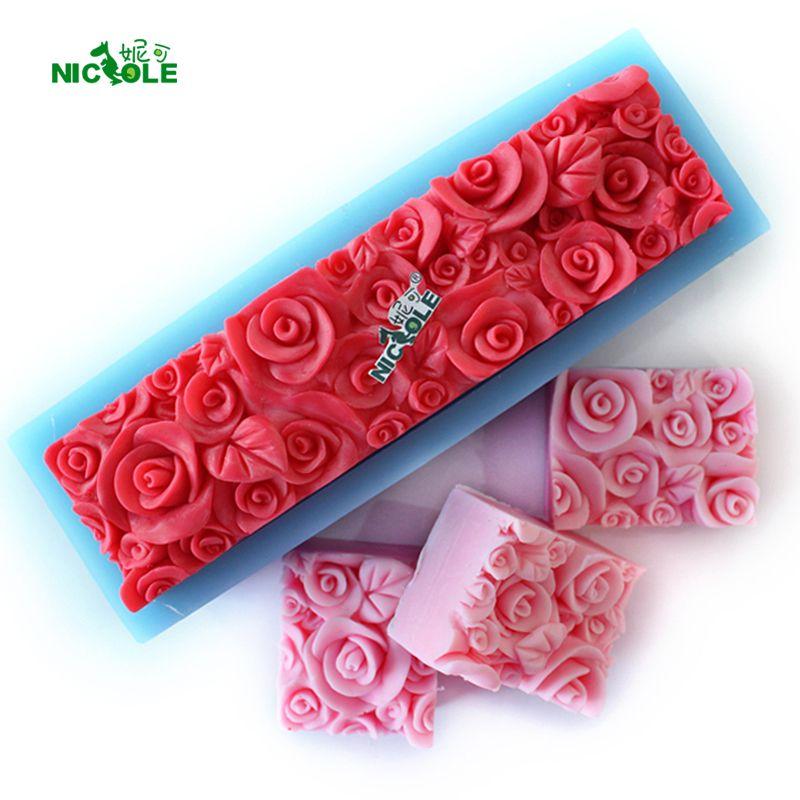 Розы Силиконовые хлеб Мыло формы прямоугольные рельефные украшения формы DIY ручной инструмент