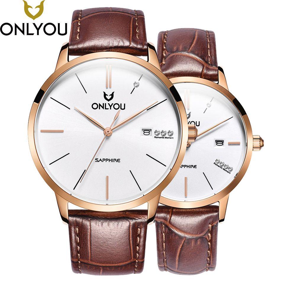 ONLYOU Quartz Watch For Men Women Lover Wrist Watches Top Luxury Brand Blue/Brown Retro Leather Band Couple Calendar Wristwatch