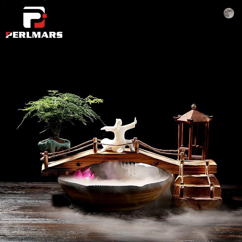 110V-240V Chinese Style Zen Flowing Water Fountain Ceramics Fish Tank Feng Shui Lucky Desktop Ornaments Office Humidifier Gifts