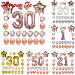 24 шт./компл. 16 21 30 40 50 60th с днем рождения звезда розового золота конфетти 40 дюймов количество Фольга шар Декор для вечеринки в честь Дня рожден...