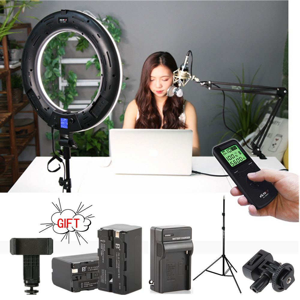 Viltrox VL-600T LED Ring light Bi-color Wireless remote + light stand for camera photo shooting Studio YouTube Video show Live