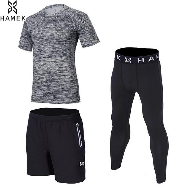 HAMEK Neuen männer dreiteilige Laufanzug Sportbekleidung Basketball Training Fitness Compression Enge Shirts + Pants + Shorts 3 Stücke Set