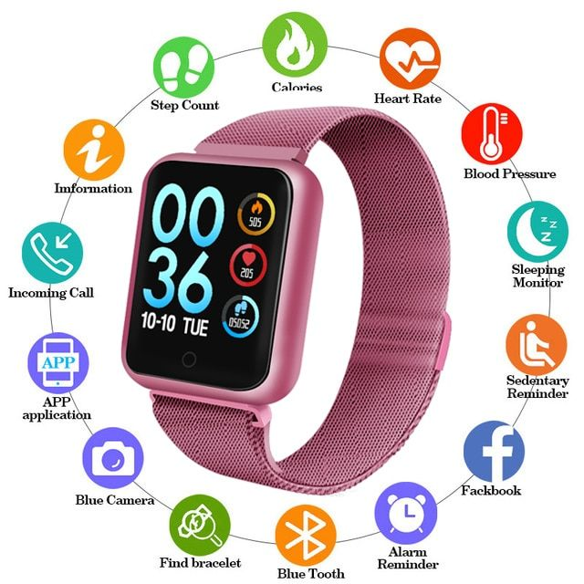 Sports IP68 Smart Watch P68 fitness bracelet activity tracker heart rate monitor blood pressure for ios Android women men