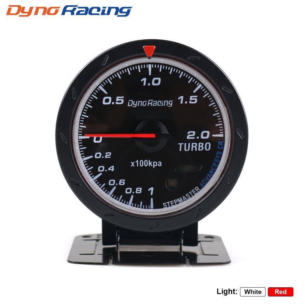 Dynoracing 60 MM voiture Turbo Boost jauge rouge et blanc barre d'éclairage Type noir visage voiture jauge voiture compteur avec capteur BX101467
